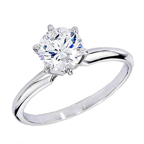 Dazzlingrock Collection IGI Certified 1.07 Carat (ctw) 14K Real Round Diamond Ladies Engagement Solitaire Ring 1 CT, White Gold