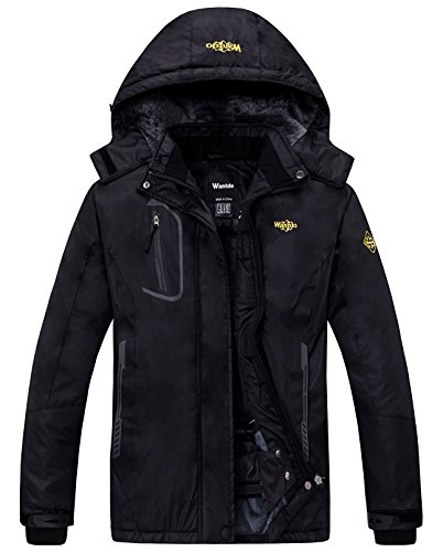 Wantdo Womens Mountain Waterproof Fleece Ski Jacket Windproof Rain Jacket, Black, XX-Large