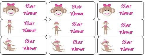 013c6ba4dd5d 30 Personalized Waterproof Name Labels Sock Monkey ... - Galleon