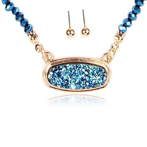 RIAH FASHION Acrylic Faux Druzy Jewel Stone Hexagon Oval Pendant Necklace - Delicate Chain/Sparkly Crystal Beaded Strand (Small Oval Crystal Bead - Montana Blue/Gold)
