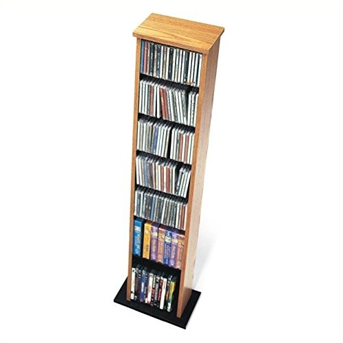 Prepac Oak & Black Slim Multimedia Storage Tower by Prepac