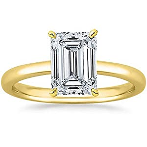 1/2 2 Carat GIA Certified 14K Yellow Gold Solitaire Emerald Cut Diamond Engagement Ring (D E Color, SI1 SI2 Clarity)
