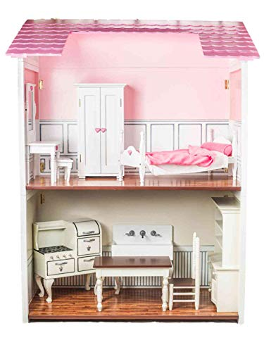 (The Queen's Treasures Beautiful Quality 18 inch 2 Story Doll House, Furniture Accessories. Easily Folds Storage Can Be Used as A Bookcase Later. Fits Any 18-inch American Girl Doll)
