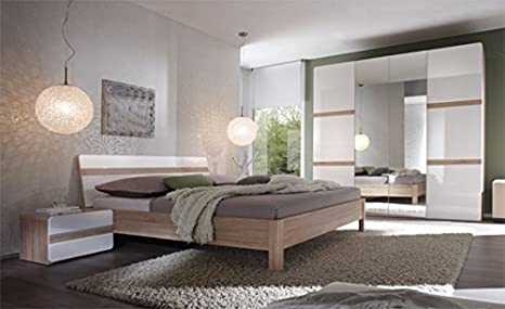 Schlafzimmer komplett 5401 4-teilig sonoma eiche / weiß Hochglanz ...