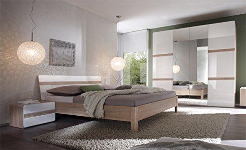 Schlafzimmer komplett 5401 4-teilig sonoma eiche / weiß Hochglanz