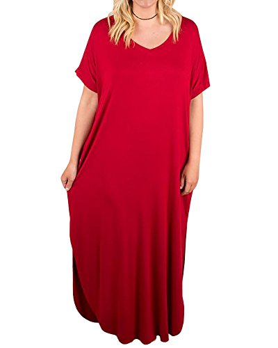 Rotita Womens Plus Size Short Sleeve V Neck Dress Casual Pregnant Loose Maxi Dresses