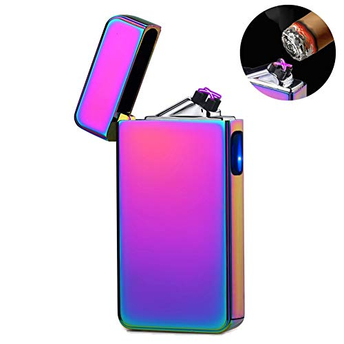 lcfun Dual Arc Plasma Lighter USB Rechargeable Windproof Flameless Electric Lighter for Cigar,Candle (Magic)
