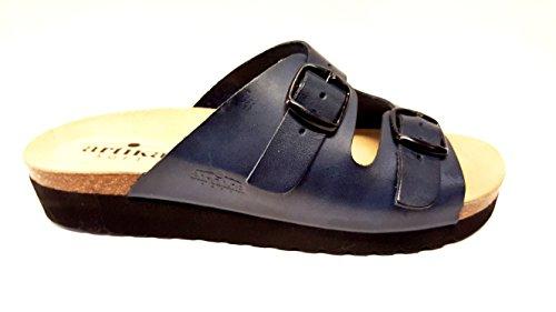 ARTIKA mule cuir modèle BASQUE bleu marine