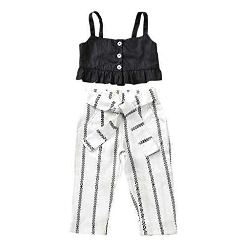 (Kids Toddler Baby Girl Ruffle Strap Tank Tops+Zebra Stripes Pants Outfit Summer Clothes Two Piece Set (Black, 3-4 Years))