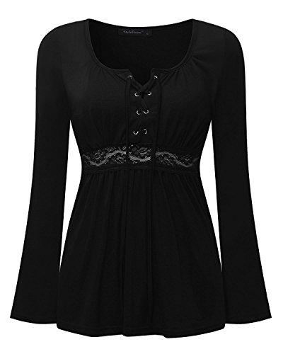 Longues Tunique Rond Slim Col Femme Tops StyleDome Manches Chemise Haut Casual V Shirt Col Noir Sexy RIxgwfqWq1