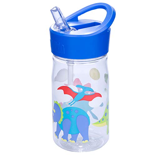 Wildkin 96408 16oz Water Bottle, BPA-Free, Features Flip Straw and Top Carrying Handle, Olive Kids Design - Dinosaur Land, 1,