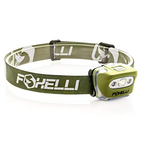Foxelli Headlamp Flashlight - 165 Lumen, 3 x AAA Batteries Operated, Bright White Cree Led + Red Light, Perfect for Runners, Lightweight, Waterproof, Adjustable Headband, 3 AAA Batteries Included]()
