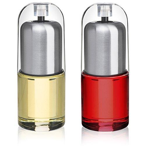 CHEFVANTAGE Oil Dispenser and Vinegar Pourer Bottle Set with Freshness Seal Cap and Drip Free Design