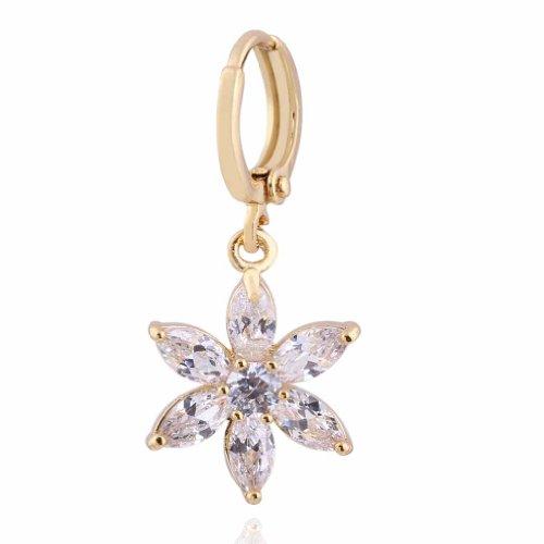 Yazilind Charming Flower Design 18k Gold Filled Inlay Cubic Zirconia Dangle Drop Earrings for Women