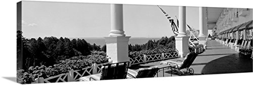 Mackinac Chair (Canvas On Demand Premium Outdoor Canvas Wall Art Print entitled Deck chairs on a hotels porch, Grand Hotel, Mackinac Island,)