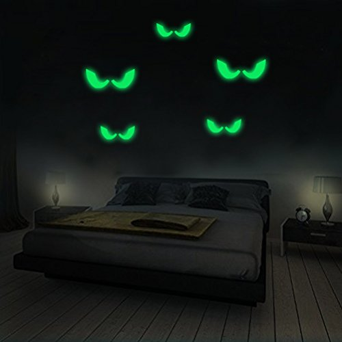 Creative Eyes Skin Wall Sticker Window Decals Halloween Decoration Glow in the Dark, Home Decor Removable Art Mural Baby Nursery Room