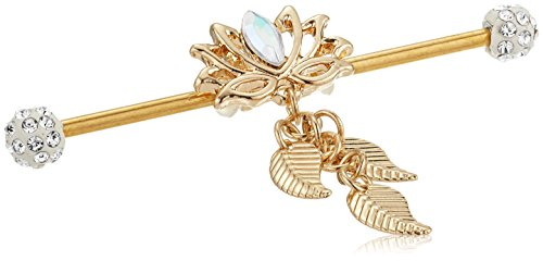 Body Candy Women's Gold Anodized Steel Clear Accent Flowing Lotus Dangle Industrial Body Piercing Barbell 14 Gauge 38mm, White, One Size - Industrial Bar Earrings