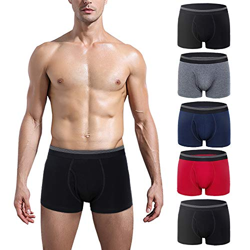 (CSYER Mens Boxer Briefs Underwear Comfortable Cotton Breathable Tagless Short Leg Open Fly Boxers Brief for Men Boys 5 Pack Medium )