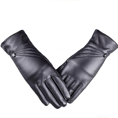Price comparison product image Women's Touch Screen Gloves,Hemlock Luxurious Lady's Girl's Leather Winter Super Warm Gloves Cashmere (Black)