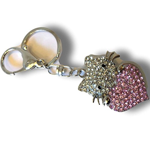 Unique   Custom 1 Single Medium Size  Carabiner  Circle Keychain Ring Made Of Metal W  Beautiful Rhinestoned Kitty Cat Holding A Giant Heart Style Made Of Metal  Silver  Pink   White