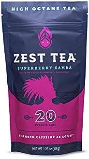 Zest Tea Energy Hot Tea, High Caffeine Blend Natural & Healthy Coffee Substitute, Perfect for Keto, 20 ser