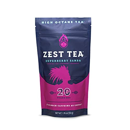 Zest Tea Premium Energy Hot Tea, High Caffeine Blend Natural & Healthy Black Coffee Substitute, Perfect for Keto, 135 mg Caffeine per Serving, Superberry Samba Green Tea, Pouch of 20 Sachet Bags