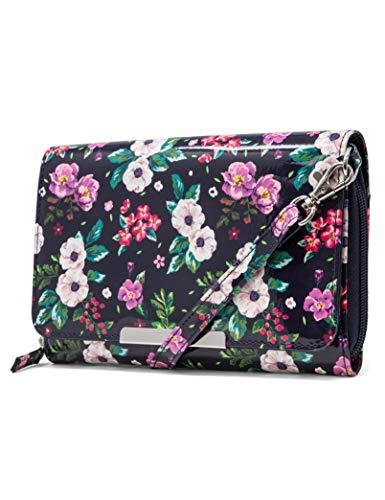 Mundi RFID Crossbody Bag For Women Anti Theft Travel Purse Handbag Wallet Vegan Leather (Tea Time Floral)