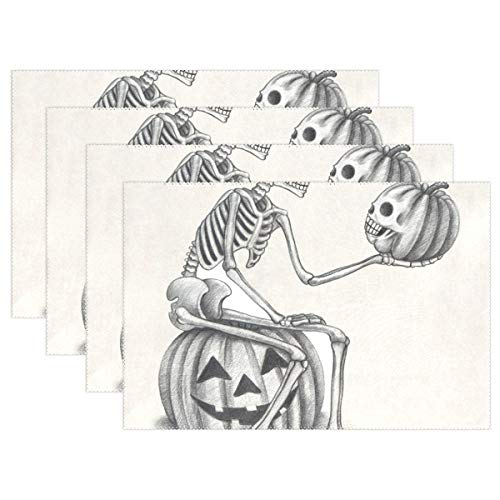 NMCEO Place Mats Funny Minimalist Halloween Skull and Pumpkin Personalized Table Mats for Kitchen Dinner Table Washable PVC Non-Slip Insulation Set of 6 -