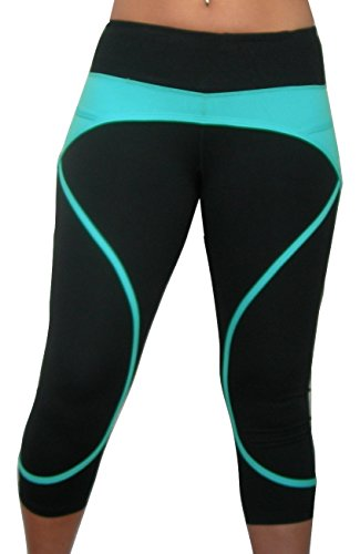 Women's Yoga Capri Pants with Pocket (Small, Black & Cyan)