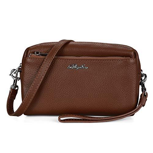 Befen Women Full Grain Leather Triple Zip Crossbody Bag Crossbody Cell Phone Purse Wallet Bag Phone Wristlet - Brown ()