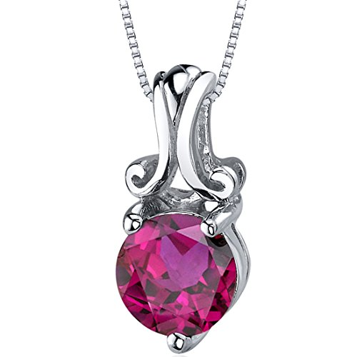 Refined Charm 1.75 carats Round Cut Sterling Silver Rhodium Nickel Finish Created Ruby Pendant ()