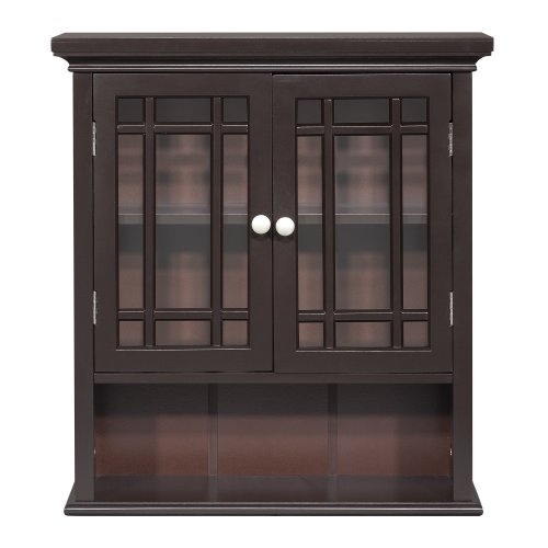 Two Beveled Glass Doors (Elegant Home Fashion Neal Wall Cabinet with 2-Door and Shelf)