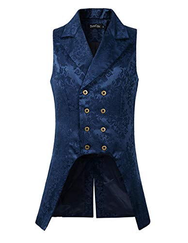 DarcChic Mens Double Breasted Vest Waistcoat VTG Brocade Gothic Steampunk (L, Blue Brocade) ()