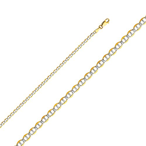 White Pave Flat Mariner Chain (Wellingsale 14k Yellow Gold SOLID 3mm Polished Flat Mariner White Pave Diamond Cut Chain Necklace - 22