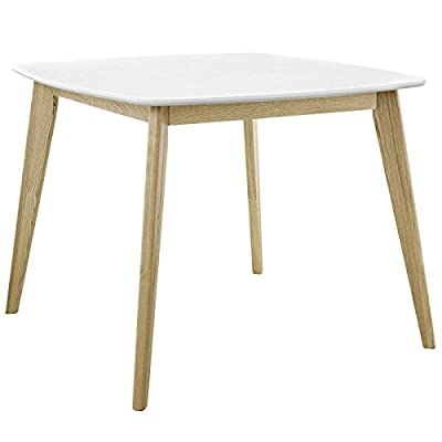 """Modway EEI-2669-WHI Stratum Mid-Century Modern Dining Table, 40"""", White - Mid-century style - Anchor your dining room with the retro modern intrigue of this table. The streamlined profile, tapered ash wood legs, and versatile design capture the allure of mid-century style VERSATILE design - a contemporary update to your home decor, the Minimalist design enables stratum to fit in small spaces, while providing extra Leg room with splayed legs. Doubles as a writing desk Sturdy Construction - sitting atop a solid wood frame for lasting stability and support, this contemporary dining table boasts a smooth White laminate surface over durable fiberboard for easy cleaning - kitchen-dining-room-furniture, kitchen-dining-room, kitchen-dining-room-tables - 410nrfCm xL. SS400  -"""