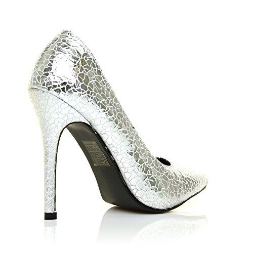 Toni Silver Crack Pattern Pointed Toe Court Shoes uvxMwTKi