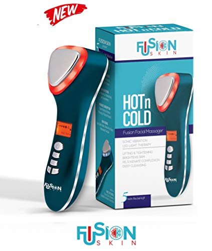 Fusion Skin Hot & Cold Dual Facial Massager Sonic Vibration Led Light Therapy Anti-Aging device