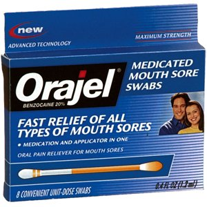 Swabs Sore (ORAJEL MED MOUTH SORE SWABS 12 EACH)