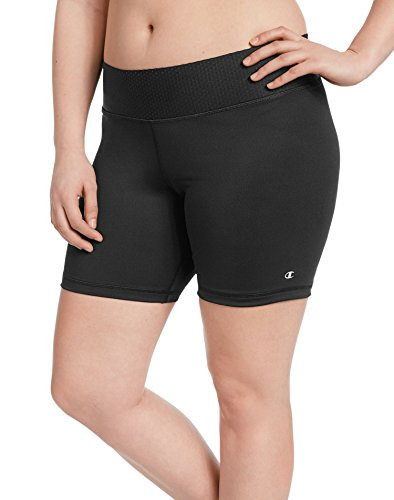 Plus Size Shorts Champion (Champion Women's Plus-Size Absolute Short with SmoothTec Waistband, Black, 2X)