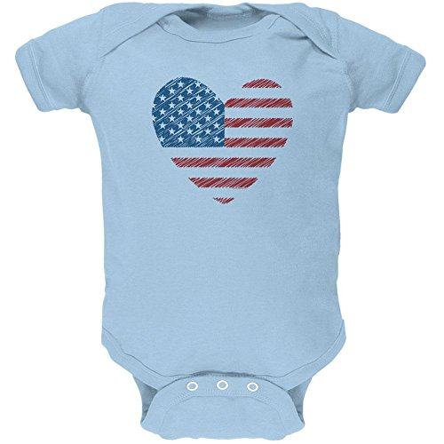- Old Glory 4th of July Scribble American Flag Heart Soft Baby One Piece Light Blue 3 Month