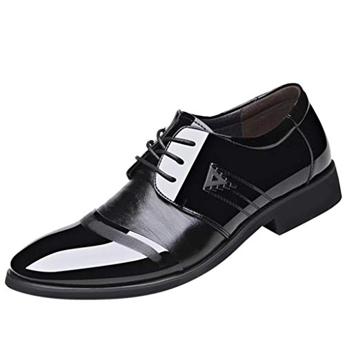 (Mens Classic Oxford Shoes Size 5.5-10.5,Leather Pointed Toe Lace up Dress Shoes for Business Wedding Party (Black C, US:11))