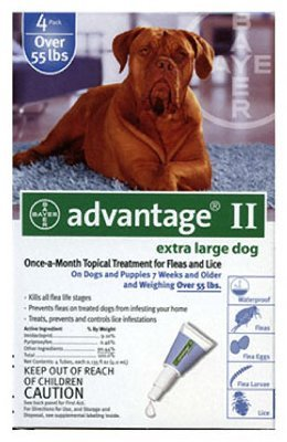 Bayer Advantage Ii Extra Large Dog 4 Pack Over 55 Lbs Blue