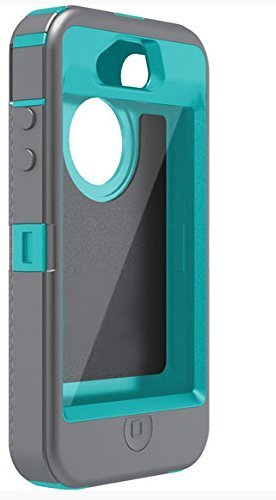 A1 Tuffbox Protector - Generic for Otterbox Defender Iphone 4 4s - Mulitple Colors Gray/Teal (Beast)
