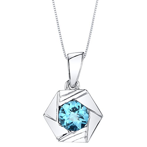 - Swiss Blue Topaz Sterling Silver Cirque Pendant Necklace
