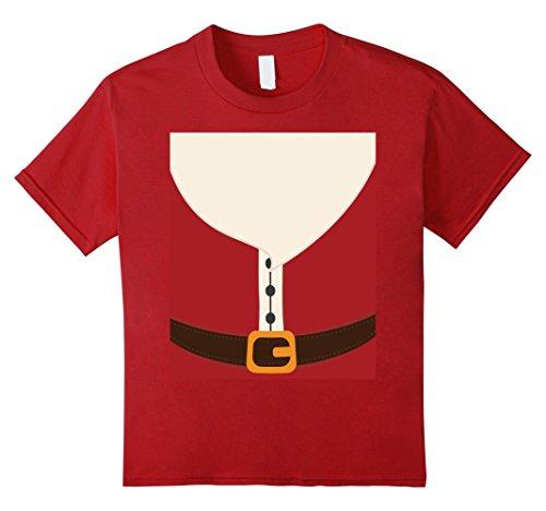 St Nicholas Children's Costume (Kids SANTA CLAUS Beard & Body Christmas Holiday Costume T-Shirt 4 Cranberry)