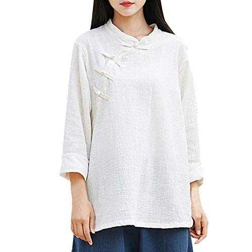 CUCUHAM Women Long Sleeve Button Chinese Kung Fu Casual Blouse Top Pullover Shirt(White ,US:10/CN:XL)