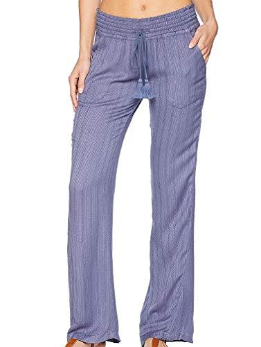 Roxy Women's Oceanside Pant Dobby Crown Blue Large - Linen Cotton Woven