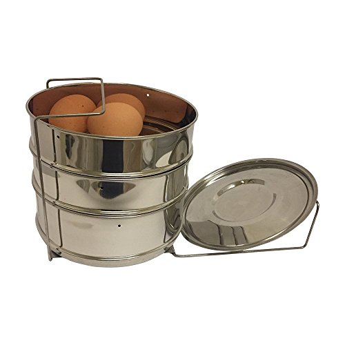 6 quart stackable stainless steel steamer insert pans (3 insert pans and a gripper) for pressure cooker-Cook Vegetables, Meat, Fish, Rice and more - Fits 6 quart and 8 quart - Indian Model List