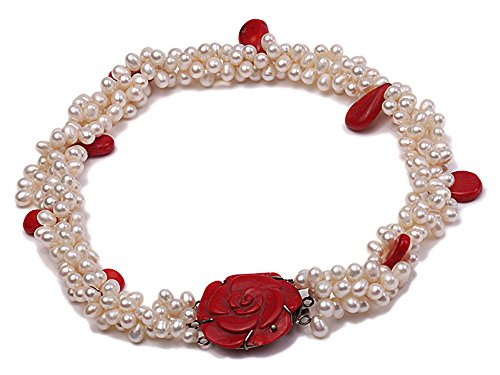 (JYX Pearl Necklace Three Strand White Freshwater Pearl Necklace with Red Seed-Shaped Coral Beads for Women 17.5