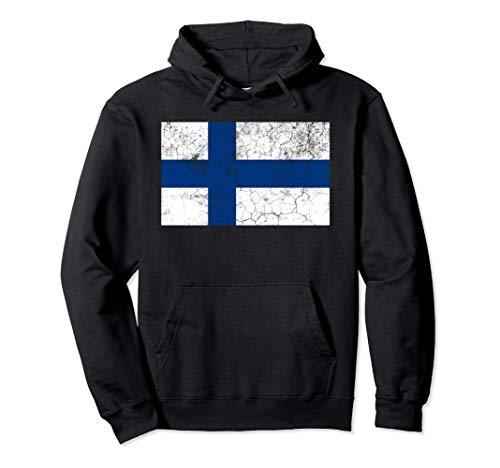 Flag of Finland Hoodie Finnish Flag Vintage Gift Hoodie